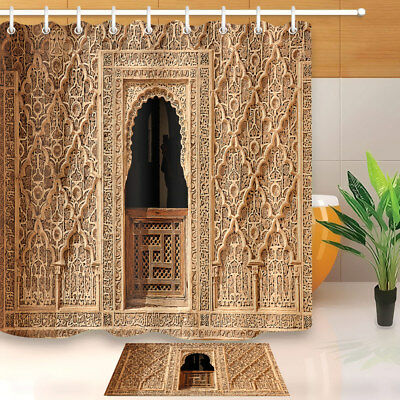 Moroccan Palace Door Print Shower Curtain Set Waterproof Polyester Fabric Hooks