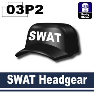 Black SWAT sniper Hat (W4) Cap compatible with toy brick minifigures ... 130c58c05b6e