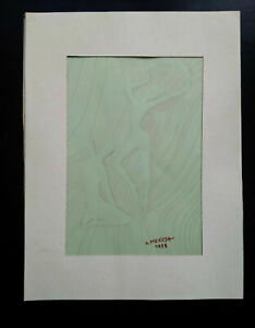 Ecole de Paris Angela Mezuka tableau judaica signée Montparnasse aquarelle 1978
