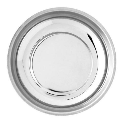 4.25 Inch Round Magnetic Parts Tray Stainless Steel with Rubber Base