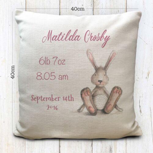 Personalizado nuevo bebé nacido Cojín Funda De Almohada-Bebé Ducha Regalo Bunny Rabbit