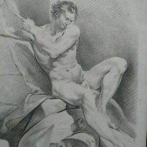 Rare gravure XVIIIème bel état F. Boucher et L. Bonnet signée nu académie homme