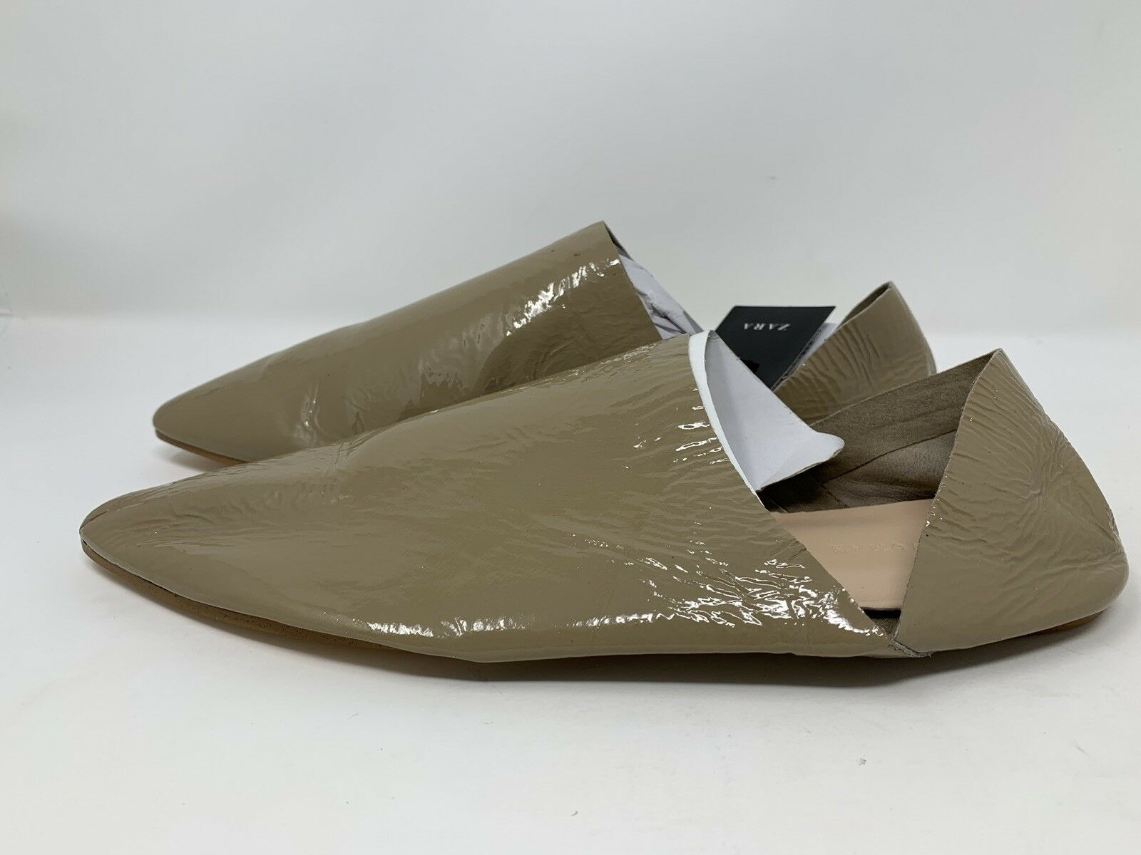 Zara Women's Patent Leather Babouches Flats Flats Flats shoes EU 39 US 8 Taupe Creased NWT 17f8da