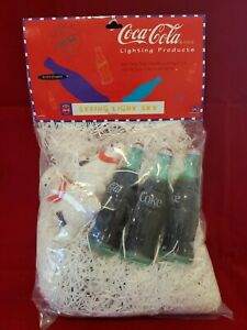New Rare Vtg Coca Cola String Light Set Bottle & Snowmen Patio Deck Lighting New