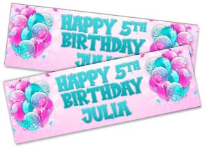 Details about  /x2 Personalised Birthday Banner Generic Children Kids Party Decoration 1