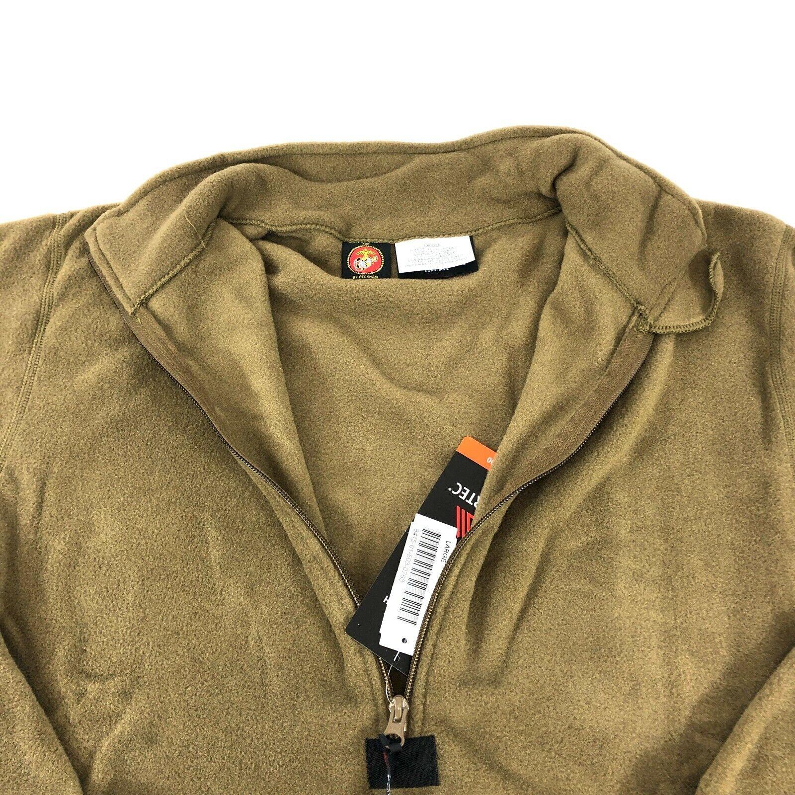 GI Brown Pullover USMC Marine Fleece Jacket Polartech 1//4 Zipper Coyote L Large
