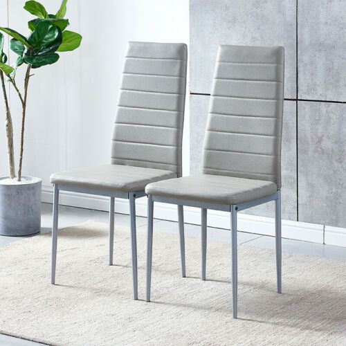 Modern Set of 2 Faux Leather Dining Chairs Padded Seat Kitchen Dinning Room Grey