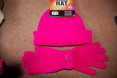 Fashion Style Nuovo Rosa Ciniglia Termica Isolata Foderato In Pile Cappello Beanie 2.5 Tog & Guanti- Materiali Di Alta Qualità Al 100%