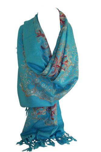 Beautiful Embroidered Pashmina Feel Wrap Scarf Scarves Stole Shawl Hijab