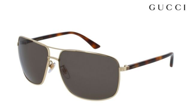 9ffe6216b0 Gucci Gg0065sk 004 Gold Metal Aviator Sunglasses Green Lens