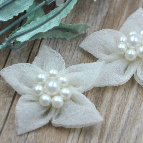 10//20//100pcs Organza Ribbon Flowers handicraft W//Pearl wedding decoration A299
