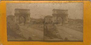 Italia-Forum-Roma-Arco-Di-Titus-Foto-Stereo-Vintage-Albumina-Ca-1870