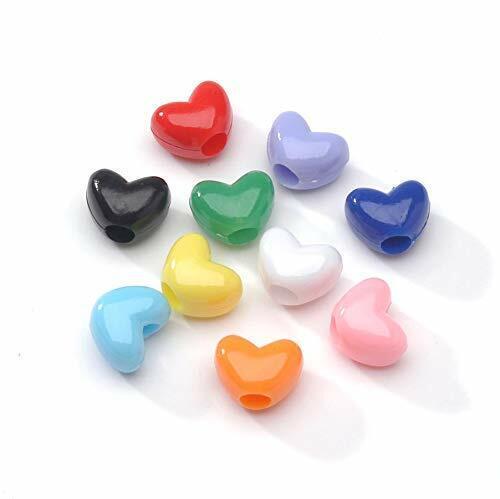 100 BULK Beads Acrylic Heart Beads Assorted Lot 9mm Beads Wholesale Mix Pony