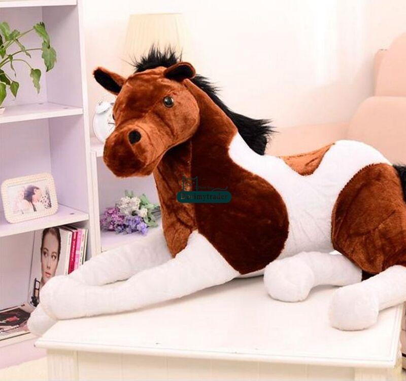 130cmx60cm riese emulational pferd weichen weichen ausgestopfte tiere spielzeug - puppe geschenk uk