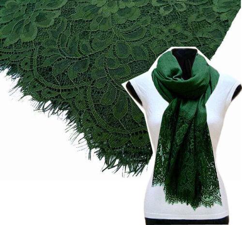 Grand Vert Forêt Écharpe Dentelle Châle Floral Wrap Coton Big Écharpe Plain Pashmina
