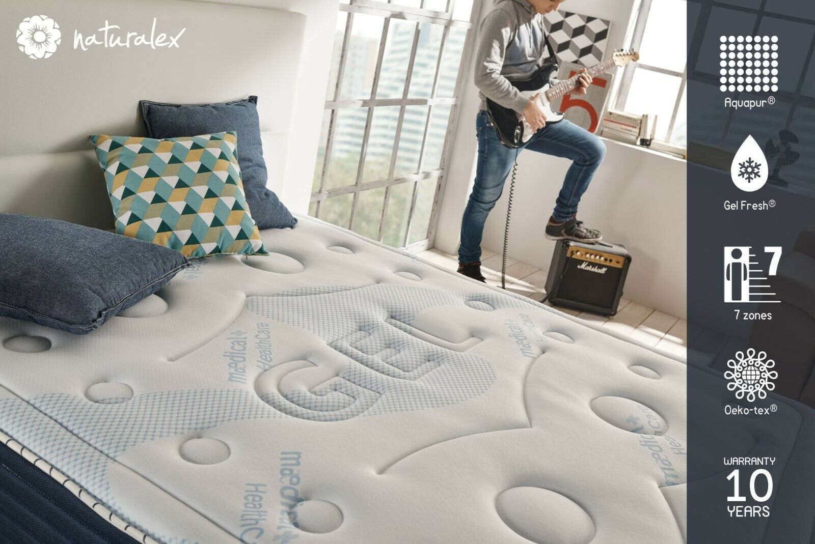 NATURALEX   Comfort Spa Padded Memory Foam Mattress   Medium Firmness All Größes