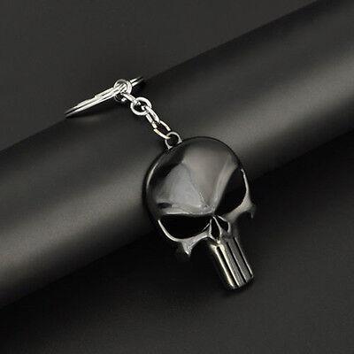 1x Fashion Mens Punk Black Skull Shape Keychain The Punisher Skull Design Metal