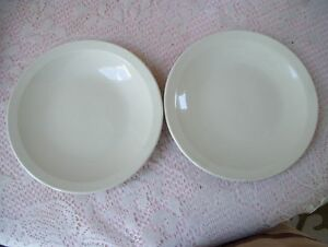 Rare-Antique-Ming-Pao-China-Set-Of-2-Plates-7-034-Ivory-Color-Beige-Or-Off-White
