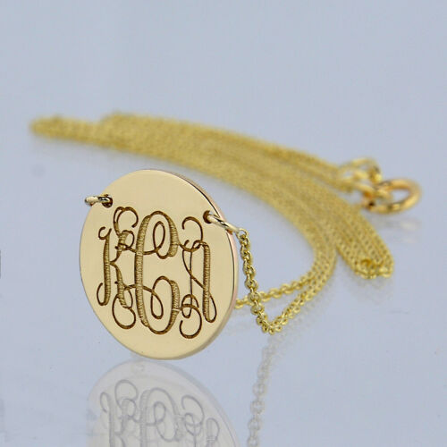 "3 Initial Monogram Solid Gold Laser Engrave 1//2/"" Circle Disc Charm Necklace GC6C"
