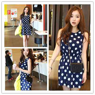New Womens Summer Dress Sleeveless Dots Polka Waist Slim Mini Dress