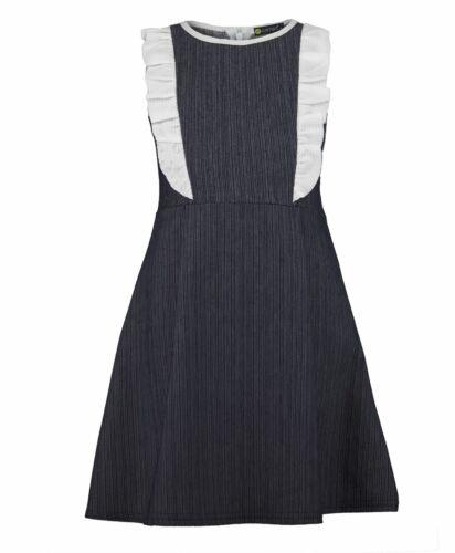 Girls Denim Ruffle Contrast Details Skater Teenagers Uniform Zip Dress 3-14 Y