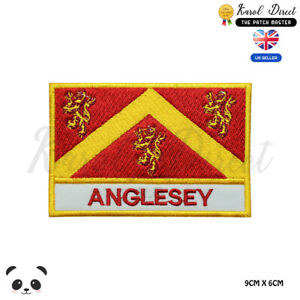 ANGLESEY-Wales-County-Flag-With-Name-Embroidered-Iron-On-Sew-On-Patch-Badge