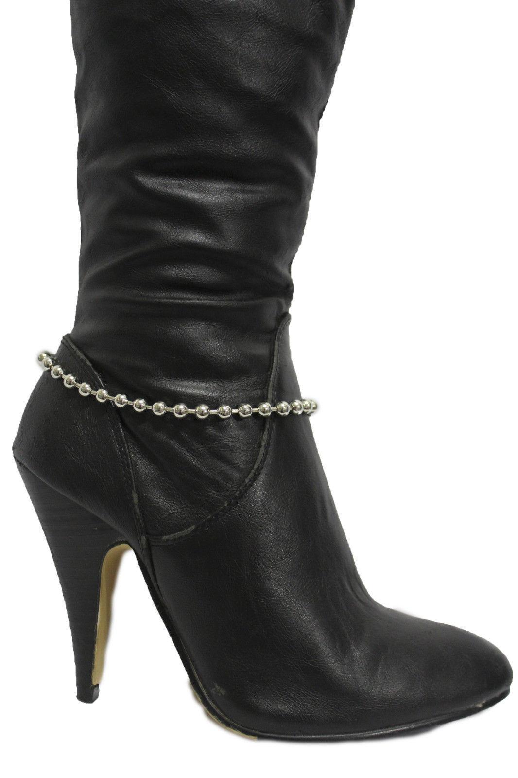 Women Western Boot Bracelet Silver Metal Chain Balls Anklet Shoe Classic Charm