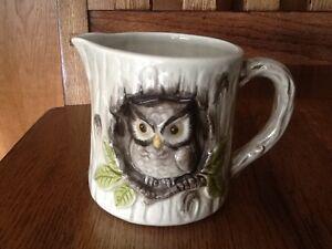 Vintage-3D-Owl-Mug-Coffee-Cup-Mug-Creamer-Made-in-Japan-Handpainted-EUC