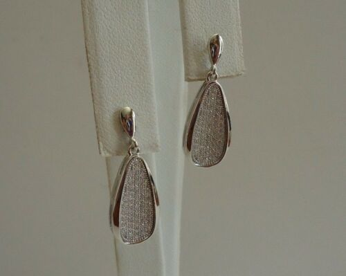 925 STERLING SILVER CLEAR MICRO PAVE TEARDROP DANGLING EARRINGS W//1.50CT ACCENTS