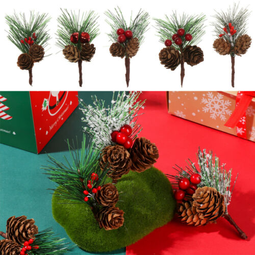 Artificial Flower Red Berry And Pine Cone With Holly Branches Christmas Decor