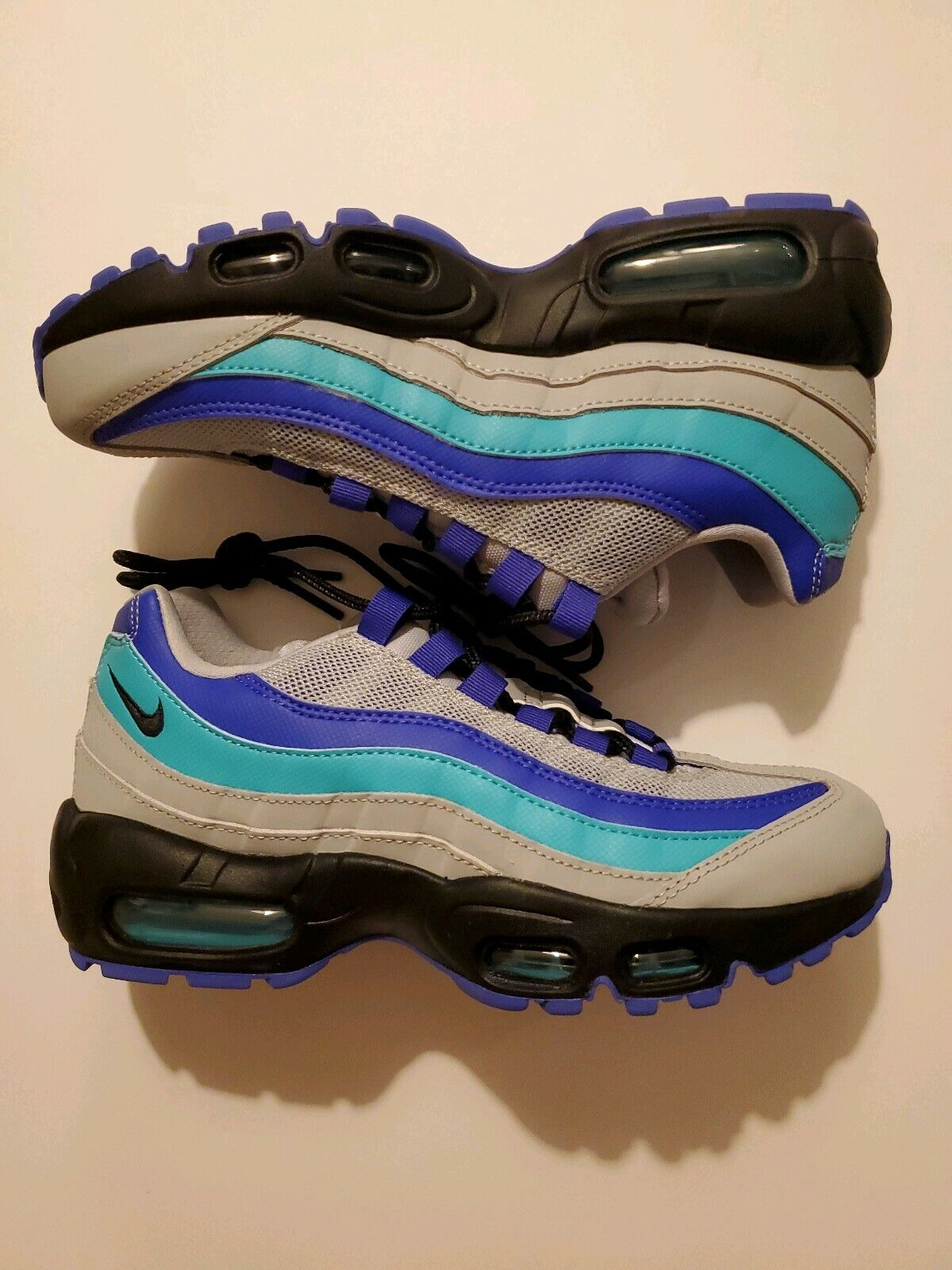 Nike Air Max 95 OG Men Size 4.5 Wolf Grey Black Indigo Burst Aqua 3M AT2865-001