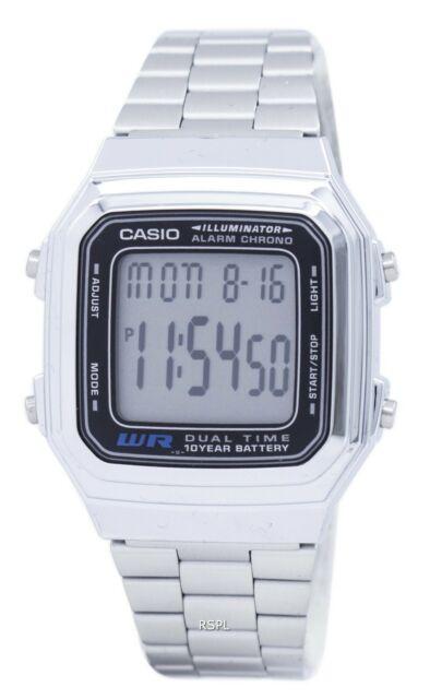 Casio Digital Stainless Steel Chrono Dual Time A178WA-1ADF A178WA-1A Men's Watch