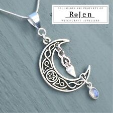 Celtic Knot Pentagram Moon, Goddess & Rainbow Moonstone Pendant Wicca Pagan