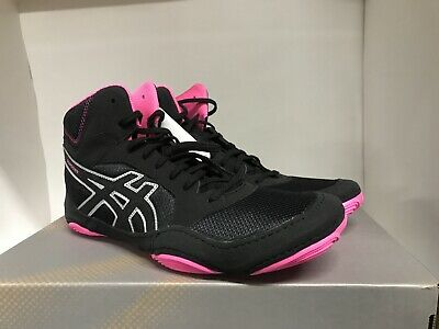 black and pink wrestling shoes