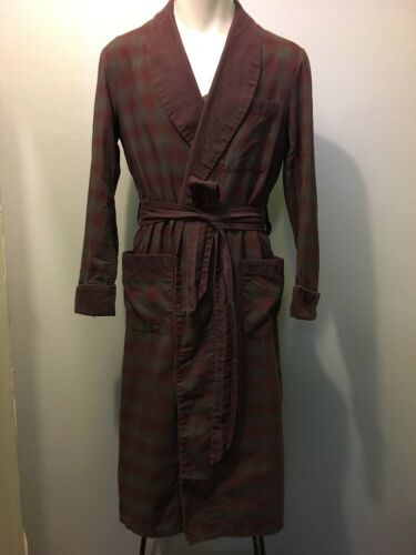 Vtg 50s 60s Cotton Shadow Plaid Bathrobe Mens S Lo