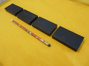 "4 pc LOT of BLACK ABS PLASTIC BAR machineable sheet flat stock 1/2"" x 1 3/4"" x 3"