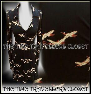 Topshop-Kate-Moss-Black-Belted-Jersey-Bird-Stork-Fit-n-Flare-Tea-Dress-UK-10-38