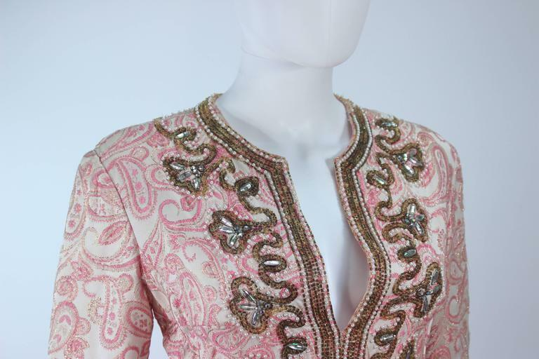CEIL CHAPMAN 1960s Pink Paisley Brocade Gown with… - image 8