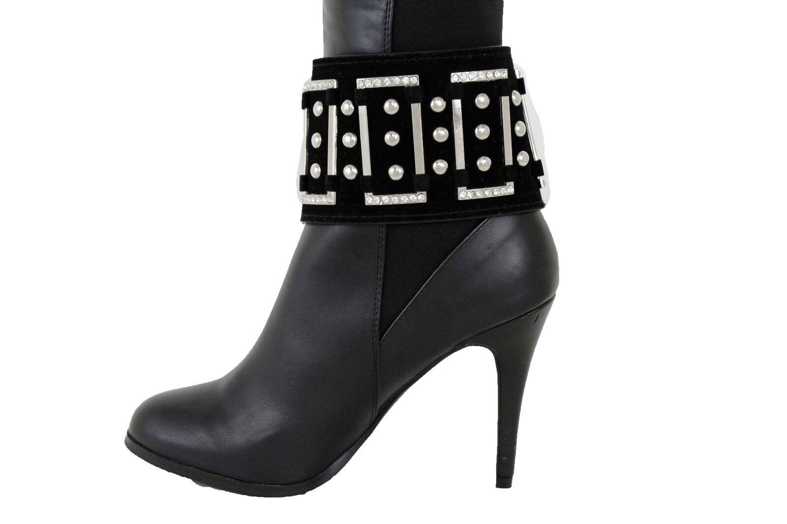 Women Boot Bracelet Silver Metal Chain Black Wide Strap Anklet Shoe Bling Charm