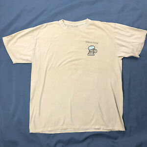 Crazy-Shirts-Stimulus-Package-Beer-Dyed-Shirt-Sz-Large-Tan-Double-Sided-Tee