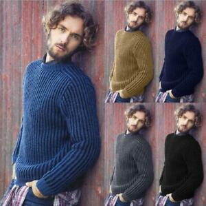 Mens-Fashion-Chunky-Cable-Knit-Jumper-Thick-Warm-Winter-Knitted-Sweater-Pullover