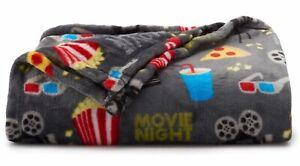 New The Big One Movie Night Popcorn Pizza Soft Throw Blanket 5 X