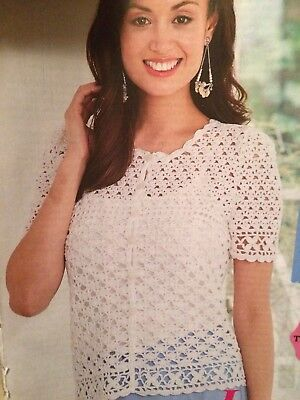 "Ladies Lace Insert Summer Top Crochet Pattern Chest 32-40/"" Picot Edge  BR536"