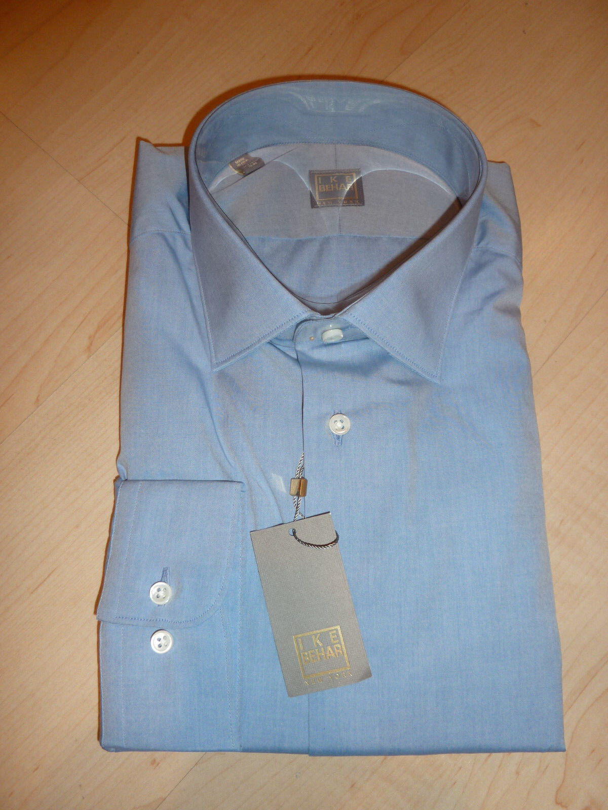 NEW  IKE BEHAR Mens Dress SHIRT 16 34 35 bluee Made in USA SLIM BC gold