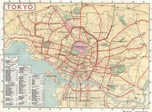 Map ca 1917 Tokyo Japan Visitors Tourist Map eBay