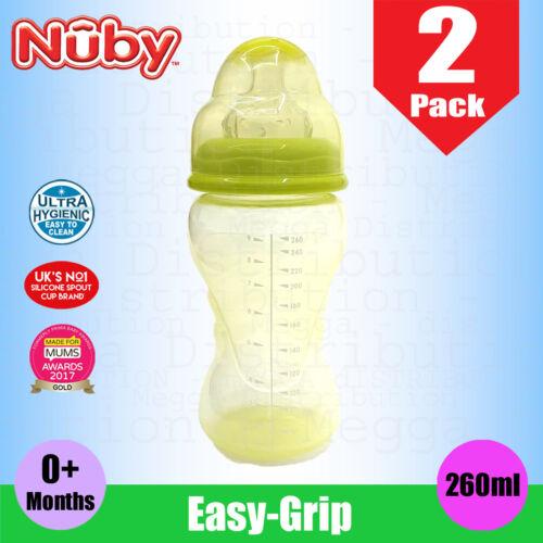 2 x Nuby 260 ml bébé Easy Grip Col Large Non égouttement TETINE Gourde 0m+