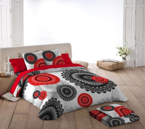 Naturals Funda nordica cama Karma mandala rojo negro gris//Duvet cover