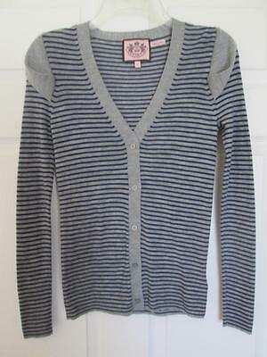JUICY COUTURE CARDIGAN SWEATER JACKET Sz Lg DRAPE SLEEVE Grey Blue EUC
