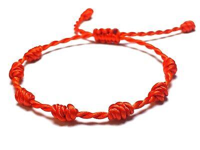 Ajustable Kabbalah Amuleto Protecci/ón Buena Suerte Pulsera Roja de 7 Nudos Mal de Ojo para Mujer y Hombre