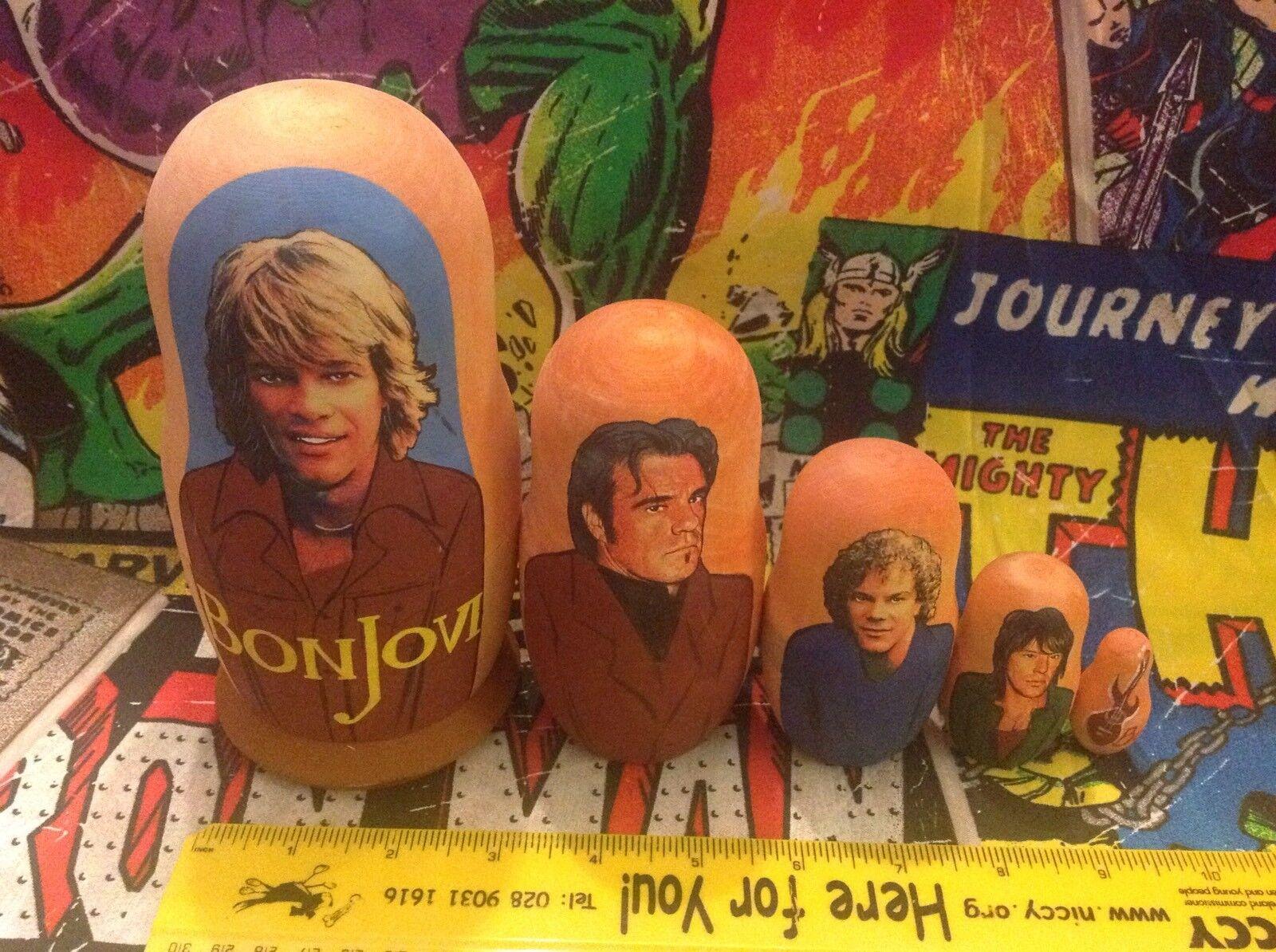 Set di 5 Bon Jovi bambole russe HAND MADE WOOD-eventualmente dipinti a mano-Vintage